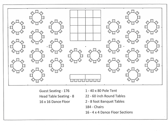 Tent Layouts  U0026 Seating Capacity Chart  U2013 Aa Party And Tent